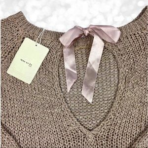 Miracle Sweater with Keyhole Bow Tie Back NWT